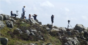 BBC film crew watching and waiting - and waiting - and waiting - and ... - at Carn Gloose.