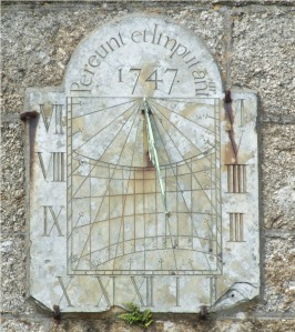The 1747 sundial on St Buryan church. The inscription was centred - and caused a little bit of a problem when the carver came to finish of the last word!