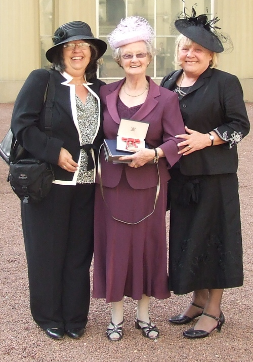 Dorothy after the ceremony flanked by Val (right of picture) and Sandy (left of picture)